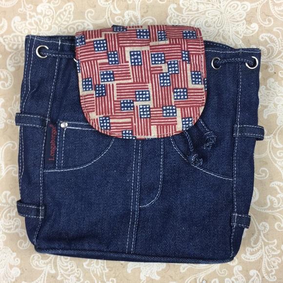 Longaberger Handbags - Longaberger Denim Americana Mini Backpack
